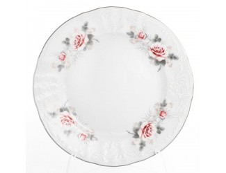 Набор тарелок Bernadotte Серая роза платина 25 см(6 шт)