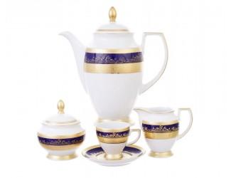 Кофейный сервиз Falkenporzellan Constanza Cobalt Gold 6 персон 17 предметов