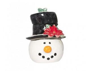 """Банка для печенья в виде головы снеговика в шляпе 28 см Certified Int """"Снеговик в шляпе"""""""