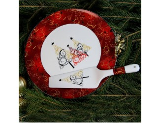 Блюдо для торта с лопаткой Акку Новый год (золото,красное) 27,5см 7202А