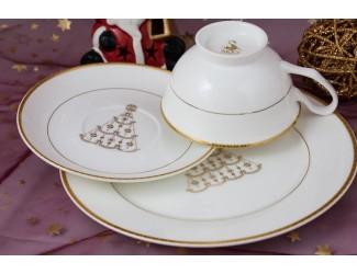 Подарочный набор Акку Новый год (золото) на 1 персону 3 предмета 7301А