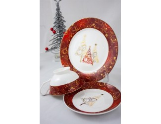 Подарочный набор Акку Новый год (золото,красный) на 1 персону 3 предмета 7302А