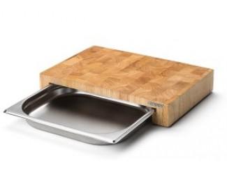 Блок мясника Continenta с метал. вставкой-подносом, цвет натуральный Continenta 31см, каучуковое дерево