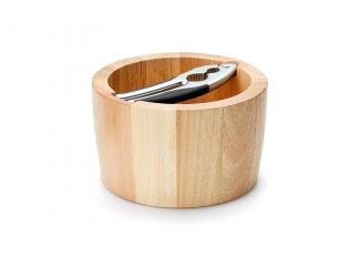 Миска для орехов с щипцами из каучукового дерева Continenta