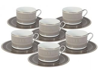Набор чайных пар на 6 персон 12предметов 250 мл предметов Naomi Мокко