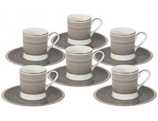 Набор кофейный пар на 6 персон 12 предметов 100мл предметов Naomi Мокко
