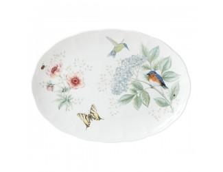 Блюдо овальное Lenox Бабочки на лугу. Птицы 41см
