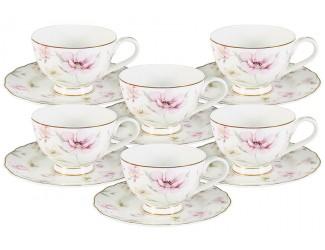 Набор 12 предметов Anna Lafarg Emily Розовый танец: 6 чашек + 6 блюдец