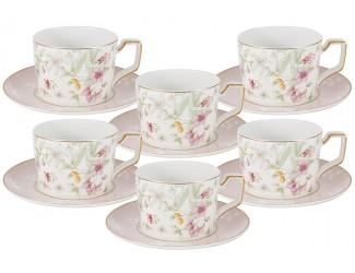 Набор 12 предметов Anna Lafarg Emily Цветы: 6 чашек + 6 блюдец