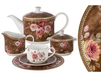 Чайный сервиз Anna Lafarg Emily Английская роза 21 предмет на 6 персон в подарочной упаковке