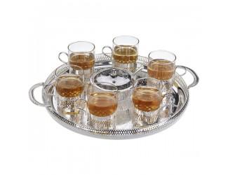 Набор для чая Queen Anne (поднос,сахарница,ложка, 6 стаканов с подстаканниками),сталь,посеребрение