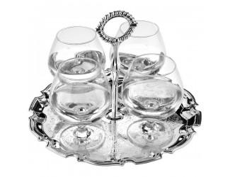 Набор бокалов для коньяка на подносе Queen Anne, 4шт, сталь, посеребрение