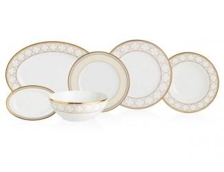 Сервиз столовый Noritake Трефолио золотой кант на 6 персон, 20 предметов
