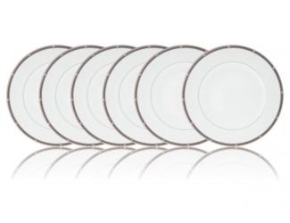 """Набор из 6 тарелок закусочных Noritake """"Рочель, платиновый кант"""" 22см"""