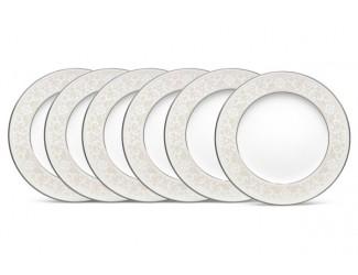 """Набор из 6 тарелок закусочных Noritake """"Монтвейл, платиновый кант"""" 21см"""