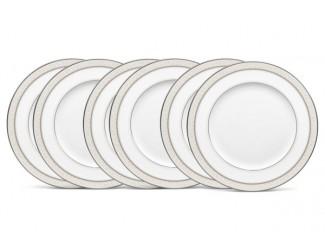 """Набор из 6 тарелок обеденных Noritake """"Монтвейл, платиновый кант"""" 27см"""