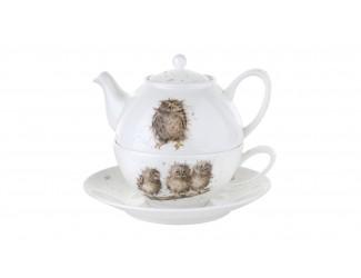 """Набор Эгоист Royal Worcester """"Забавная фауна. Совы"""", (чайник и чашка с блюдцем), 300мл"""
