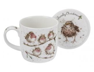 "Кружка с подставкой  Royal Worcester ""Забавная фауна"" Семейное рождество (Птицы) 310мл"