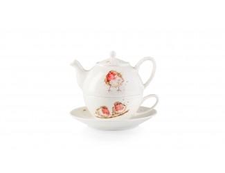 "Набор Эгоист Royal Worcester ""Забавная фауна. Малиновка"" (чайник и чашка с блюдцем), 300мл"