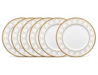 """Набор из 6 тарелок обеденных Noritake """"Трефолио золотой кант"""" 28см"""