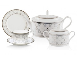 Сервиз чайный Noritake Трефолио  платиновый кант на 6 персон 20 предметов