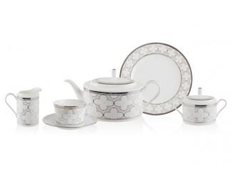 Сервиз чайный Noritake Трефолио  платиновый кант на 6 персон 21 предмет