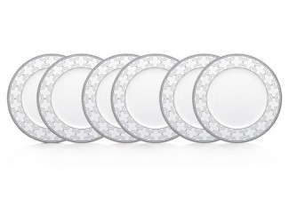 """Набор из 6 тарелок обеденных Noritake """"Трефолио платиновый кант"""" 28см"""