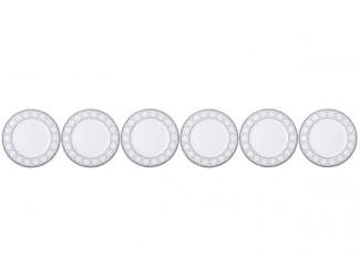 """Набор из 6 тарелок пирожковых Noritake """"Трефолио платиновый кант"""" 16,7см"""