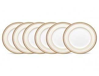 """Набор из 6 тарелок закусочных Noritake """"Трефолио золотой кант"""" 22см"""