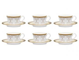 """Набор из 6 чашек чайных с блюдцами Noritake """"Трефолио золотой кант"""" 225мл"""