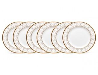 """Набор из 6 тарелок десертных Noritake """"Трефолио золотой кант"""" 16,5см"""