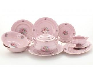 Сервиз столовый 25 предметов 6 персон Leander Соната Розовые цветы  декор 0013 розовый фарфор