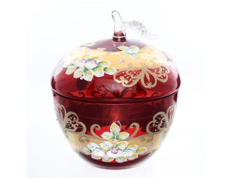 Конфетница-яблоко с крышкой Bohemia лепка красная E-S 16 см