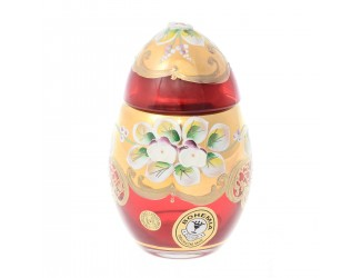 Конфетница-яйцо с крышкой Bohemia лепка красная E-S 10 см