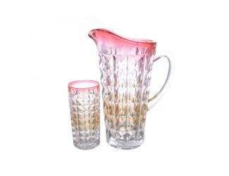 Набор для воды Bohemia Gold Diamond 7 предметов розовый