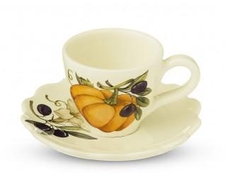 Набор кофейных пар 6 чашек + 6 блюдец 12 предметов NUOVA CER Тыква