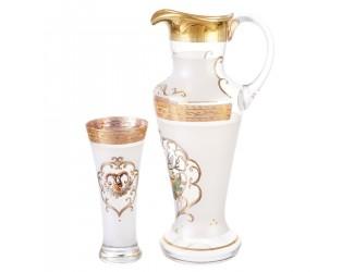 Набор для воды Bohemia Охота белая иксовка 7 предметов (Графин1,8л Стаканы 300мл)