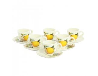 Набор кофейных пар NUOVA CER Лимон 6 чашек 6 блюдец 12 предметов