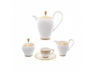 Кофейный сервиз на 6 персон 9 предметов Falkenporzellan Maxim round- Lillet Gold