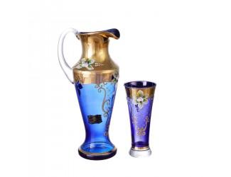 Набор графин и стаканы AS Crystal Матовая полоса синий 7 предметов