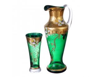 Набор графин и стаканы AS Crystal Матовая полоса зелёный 7 предметов