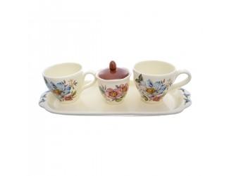 Чайный набор 2 чашки + сахарница + подставка 4 предмета NUOVA CER Лепестки Весны