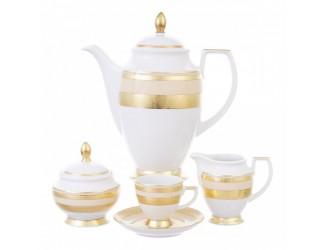 Кофейный сервиз на 6 персон 17 предметов Falkenporzellan Constanza Creme Gold