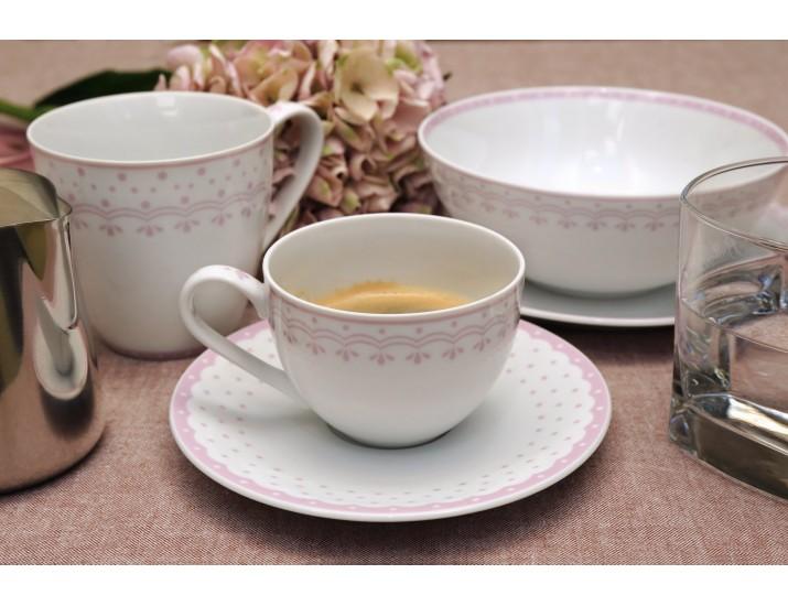 Набор чайных пар на 4 персоны 8 предметов Leander Hyggelyne, розовый