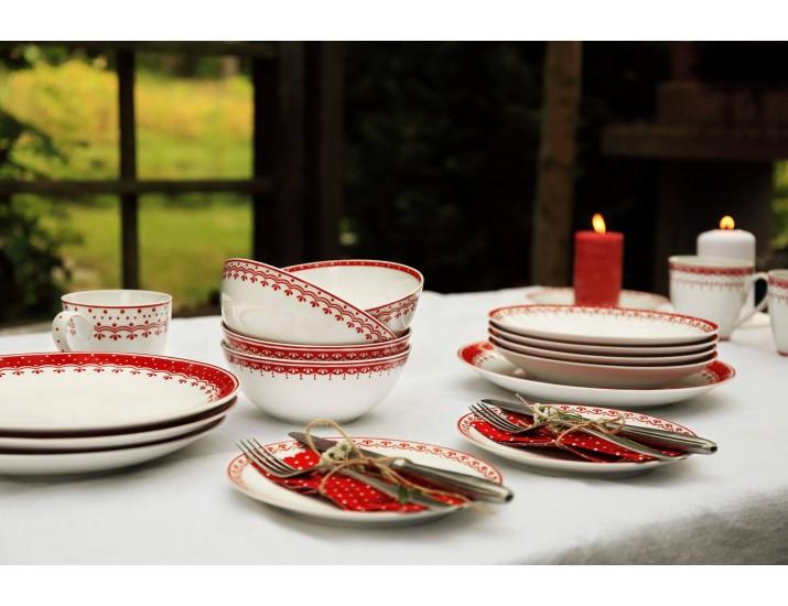 Набор тарелок Leander Hyggelyne 12 предметов, красный