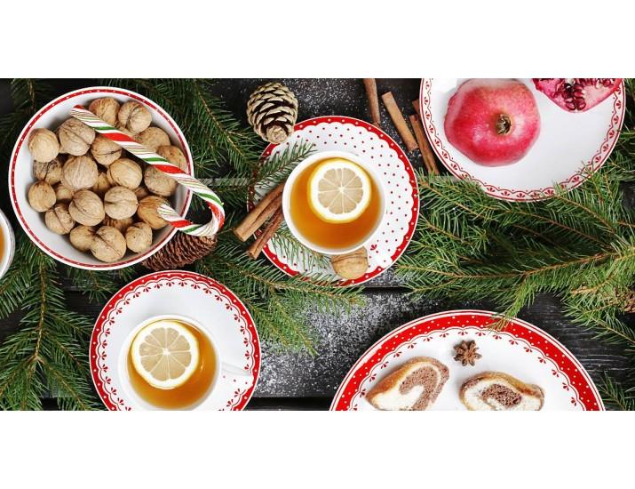 Набор чайных пар на 4 персоны 8 предметов Leander Hyggelyne, красный