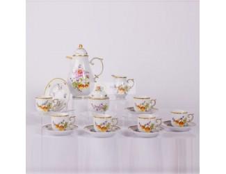 Кофейный сервиз на 6 персон 15 предметов Hollohaza Sophiane декор 1789 ручная роспись