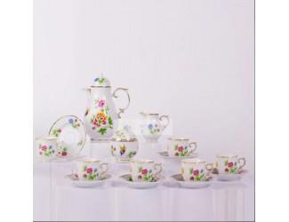 Кофейный сервиз на 6 персон 15 предметов Hollohaza Hajnalka декор 1803