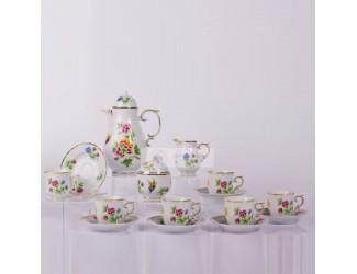 Кофейный сервиз на 6 персон 15 предметов Hollohaza Hydrangea (Hortenzia) декор 2417