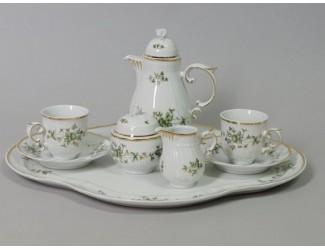 Кофейный набор тет-а-тет на 2 персоны 7 предметов Hollohaza Erika декор 1945